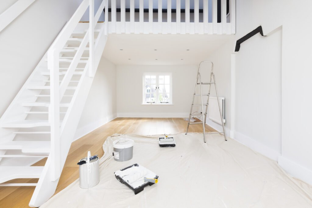 Home improvement and decorating - a room or apartment is painted with emulsion